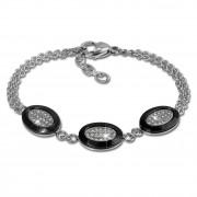 Amello Armband Keramik Oval schwarz Zirkonia Damen Edelstahlschmuck ESAX32S8