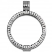 Amello Coinsfassung 30mm Kettenanhänger Zirkonia weiß Stahlschmuck ESC006W
