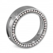 Amello Coinsfassung 25mm Edelstahl für Armband Zirkonia Stahlschmuck ESC081W