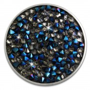 Amello Stahl Coin Zirkonia blau/grau Coinsfassung Edelstahlschmuck ESC302B