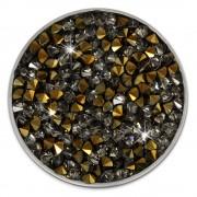 Amello Edelstahl Coin Zirkonia grau/gold Coinsfassung Stahlschmuck ESC302K
