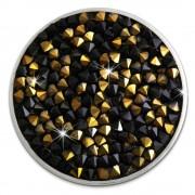 Amello Edelstahl Coin Zirkonia schwarz/gold Coinsfassung Stahlschmuck ESC302S