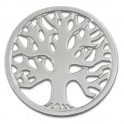 Amello Edelstahl Coin Lebensbaum silber für Coinsfassung Stahlschmuck ESC502J