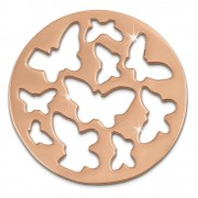 Amello Edelstahl Coin Schmetterling rose für Coinsfassung Edelstahl ESC503E