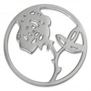 Amello Edelstahl Coin Rose 30mm silber für Coinsfassung Stahlschmuck ESC506J