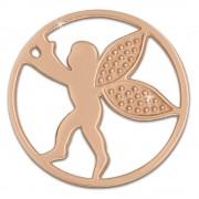 Amello Edelstahl Coin Engel rosegold für Coinsfassung Stahlschmuck ESC514E