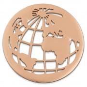 Amello Edelstahl Coin Weltkugel rosegold für Coinsfassung Schmuck ESC517E