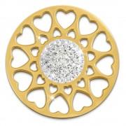 Amello Edelstahl Coin Herzblume vergoldet Zirkonia weiß Stahlschmuck ESC519YW