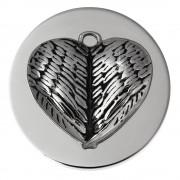 Amello Edelstahl Coin Flügelherz 30mm Silber Edelstahlschmuck ESC529J