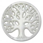 Amello Coin Lebensbaum Perlmutt weiß für Coinsfassung Stahlschmuck ESC601W