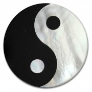 Amello Coin Yin Yang Perlmutt Schimmer für Coinsfassung Stahlschmuck ESC602S
