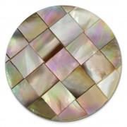 Amello Coin Perlmutt Quadrat 30mm für Coinsfassung Edelstahlschmuck ESC706N