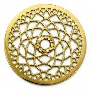 Amello Edelstahl Coin Lotusblume vergoldet Zirkonia gold Stahlschmuck ESC532YY
