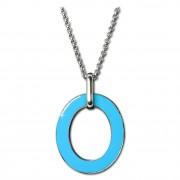 Amello Halskette Oval Emaille türkis/weiß Damen Edelstahlschmuck ESKG01T