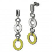 Amello Ohrstecker Oval Emaille gelb/weiß Ohrringe Damen Edelstahl ESOG01Y