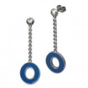 Amello Ohrstecker Oval Zirkonia Emaille blau Ohrringe Damen Stahl ESOG03B