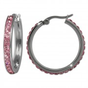 Amello Creole 30mm Edelstahl Swarovski Elements rosa Ohrring ESOS04A
