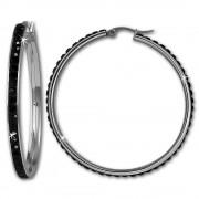 Amello Creole 50mm Edelstahl Swarovski Elements schwarz Ohrring ESOS05S