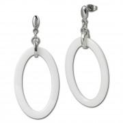 Amello Ohrringe Keramik Oval weiß Damen Edelstahlschmuck ESOX04W