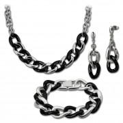 Amello Edelstahlschmuckset Keramik Kette, Armband, Ohrring ESSX06S
