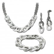 Amello Edelstahlschmuckset Keramik Kette, Armband, Ohrring ESSX06W