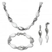Amello Edelstahlschmuck Keramik Welle Kette, Armband, Ohrring ESSX08W