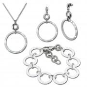 Amello Edelstahlschmuckset Circle Keramik Kette, Armband, Ohrring ESSX14W