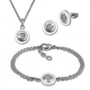 Amello Edelstahlschmuckset Keramik Rund Zirkonia Kette, Armband, Ohrring ESSX31W