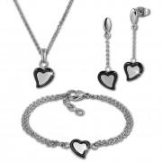 Amello Edelstahlschmuckset Herz schwarz Keramik Kette, Armband, Ohrring ESSX33S