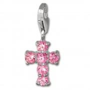 SilberDream 925 Charm Kreuz pink Armband Anhänger FC205P