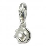 SilberDream 925 Charm weiße Perle Kugel Armband Anhänger FC251W