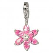 SilberDream 925 Charm Blume rosa Armband Ketten Anhänger FC4114