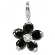 SilberDream 925 Charm Blume schwarz Armband Ketten Anhänger FC4115