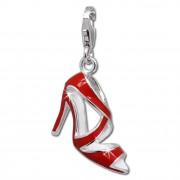 SilberDream Charm Schuh High Heel rot 925er Armband Anhänger FC688