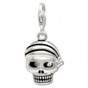 SilberDream Charm Totenkopf Pirat 925 Silber Armband Anhänger FC695