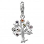 SilberDream Charm Lebensbaum bunt 925er Silber Armband Anhänger FC722F