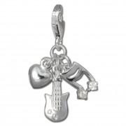 SilberDream Charm Liebe zur Musik 925 Silber Armband Anhänger FC735W