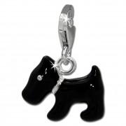 SilberDream Charm Hund schwarz 925er Armband Anhänger FC830S