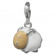 SilberDream Charm Schaf mit Hörnern weiß 925er Armband Anhänger FC839W