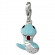SilberDream Charm funny Snake hellblau 925 Silber Armband Anhänger FC870H
