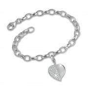 SilberDream 925 Charms Herz weiß Silber Armband Anhänger Set FCA051