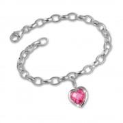 SilberDream 925 Charms Herz rosa Silber Armband Anhänger FCA052