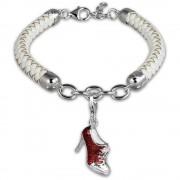 SilberDream Geschenkset Schuh Charm mit Lederarmband 925 Silber FCA153