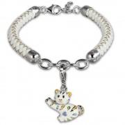 SilberDream Geschenkset Katze Charm mit Lederarmband 925 Silber FCA155