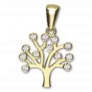 GoldDream Kettenanhänger Lebensbaum Zirkonia weiß 333 Gold Echtschmuck GDH5066Y