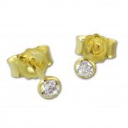 SilberDream Ohrstecker Zirkonia 3mm weiß Ohrring 333 Gelbgold GDO0053Y