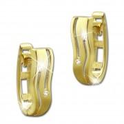 SilberDream Creole oval Line Zirkonia weiß Ohrring 333 Gold Echtschmuck GDO524WY