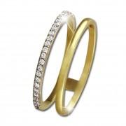 SilberDream Gold Doppel Ring Zirkonia weiß Gr.54 333er Gelbgold GDR505Y54
