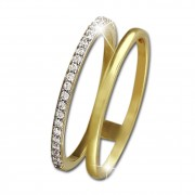 SilberDream Gold Doppel Ring Zirkonia weiß Gr.58 333er Gelbgold GDR505Y58