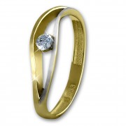 GoldDream Gold Ring Welle Zirkonia weiß Gr.58 333er Gelbgold GDR510T58